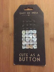 East Of India Buttons Genuine Real Pearl Shell White Square Cute As Natural VGC