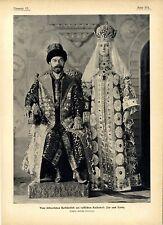 Vom russischen Kaiserhof Der Zar u. die Zarin in historischen Kostüm-Tracht 1903