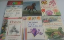 LEARN TO DRAW 7 Book Lot Farm Animals Horses pencil color flowers quick