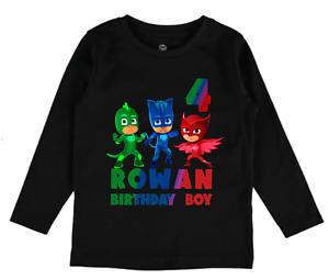 PJ Masks Personalised Name Age tshirt boys girls Birthday Toddler clothes gift