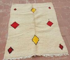 "Moroccan Handwoven Pure Wool Rug Beni Ourain Berber Carpet  54"" x 40"""