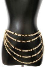 Women Fashion Long Full Hip Waist Gold Silver Metal DRAPED 5 ROW Wide Chain belt