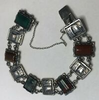 Vintage C1970s Scottish Silver Ward Bros Agate Viking Ship Bracelet