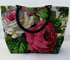 Ladies  Designer JUTE Purse Floral Handbag Wooden Handle Beach weekend Bag