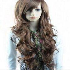 perruque cheveux ondulée 70 cm Long bouclés Big wave brune synthétique perruque