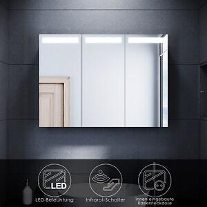 LED Spiegelschrank mit Beleuchtung Steckdose Badspiegel Infrarot 3-türig 90cm