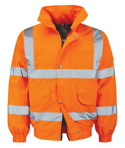 Hi Vis Hi Visibility Bomber Jacket - Hi Viz Orange - BALAN