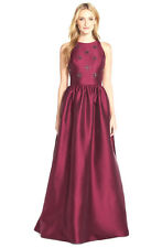 *175 ADRIANNA PAPELL BURGUNDY BEADED MIKADO HALTER GOWN DRESS   SZ 2  MSRP$368