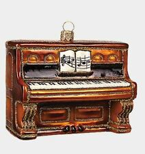 Brown Piano Musical Instrument Polish Blown Glass Christmas Ornament Decoration