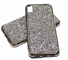 For iPhone X / XS Silver Rhinestone Bling Soft Rubber Protector Skin Case Cover