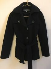 Women's Kenneth Cole Reaction Black Jacket S Belted Peacoat Cotton Blend