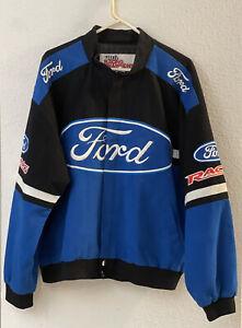 Vintage Ford Racing Champions Apparel Nascar Jacket Black Blue Sz. Large Coat