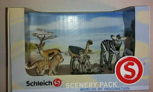 Schleich Wild Life Scenery Pack African Animals 5 Figures *New Open Box*