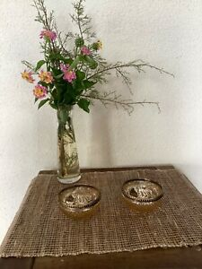 Set of 2 peach mercurised glass tea light holders