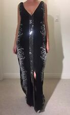 THOMAS WYLDE Silk Layered Swarovski Crystals Kaftan-Style Maxi Dress Medium