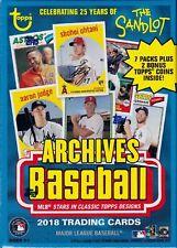 2018 Topps Archives Baseball sealed blaster box 7 packs of 8 MLB cards & 2 coins