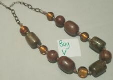 Statement wood plastic and glass bead necklace boho autumnal natural shades