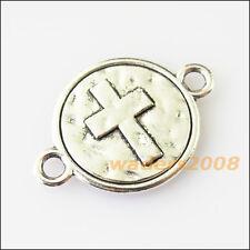 8 New Round Cross Connectors Tibetan Silver Tone Charms Pendants 16x23mm