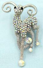 Huge Sparkling Sheep Goat Pin Brooch Crystal Rhinestone Animal Jewelry Gift ZA13