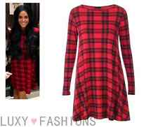 Ladies/Womens Tartan Check Print Jersey Swing Flared Dress Top Plus Sizes 8-22