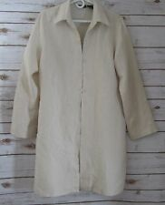 Willi Smith Womens Large Beige  Long Sleeve  Linen Tunic Duster Lagenlook L