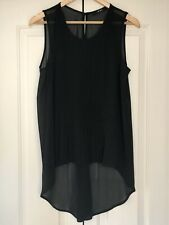 Oui, Plisse Semi Sheer Top, In Black, Size 14/42