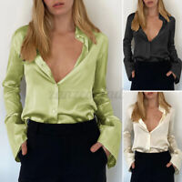 Women Blouse Casual Formal Silky Dress Shirt Tee Top Button Up Party Ladies Plus