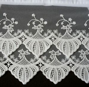 New White Embroidered Lace Pillowcases (2) Pillowsham Cotton Sateen Standard W7#