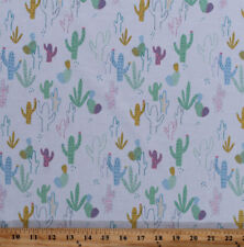 Cactus Cacti Desert Plants Southwestern Cotton Fabric Print by the Yard D567.73