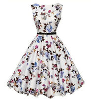 UK size 4-14 New printing Hepburn style retro 50s knee length large tutu dress