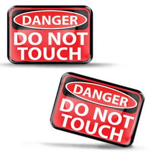 2 x 3D Silikon Aufkleber Danger Achtung Do not Touch Warnung Stickers Decals