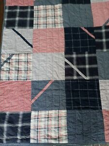 Nautica Red White Navy Blue Twin Summer Light Weight Quilt