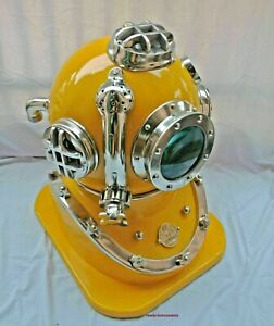 Antique Maritime Yellow & Chrome Finish US Navy Diving Divers Mark V Helmet