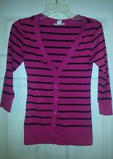 Derek Heart Button Up Pink and Black Striped Cardigan Stretch in Junior's size S