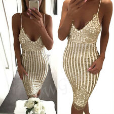 Womens Sexy Sleeveless Sequins Bandage Backless Evening Party Cocktail Dresses