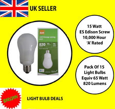 PACK OF 15 X 15 WATT ES LOW ENERGY LIGHT BULB A RATED 10000 HOUR A RATED NEW