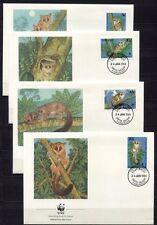s3745) TANZANIA 1989 WWF, Galago 4v FDC
