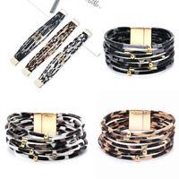 Fashion Women Men Leather Magnetic Clasp Cuff Bracelet Bangle Wristband Gift