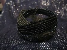 Wonderful multi-beaded plaited cuff style open backed bracelet with Black & grey
