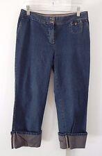 womens blue J JILL jeans denim cropped capri genuine fit below waist cuffed S 4