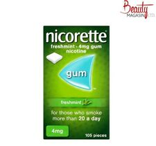 Nicorette Chewing Gum 4mg Freshmint 105 Pieces Fresh Mint Free Shipping to USA