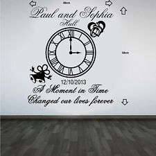 Personalised Wedding Clock Anniversary Keep Sake Wall Art Sticker/Decal#3