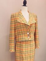 VALENTINO - VTG Boutique Yellow 100% Wool Tweed Geometrical Striped Skirt Suit 6