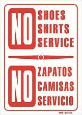 """No Shoes No Shirt No Service (bilingual) 14""""x10"""" Sign - RS-27 bil"""