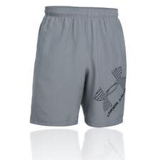 Pantaloncini da uomo grigie in poliestere per palestra, fitness, corsa e yoga taglia XL
