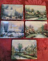 (5)Bradford Exchange Thomas Kinkade Lamplight County And Holiday Memories Plates