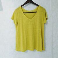Eileen Fisher Size Medium 100% Linen Yellow V-neck Top T-shirt