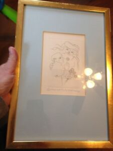 FRAMED JORGE DUMAS SIGNED ORIGINAL ETCHING MOTHER AND CHILD AND FREE SHIPPING