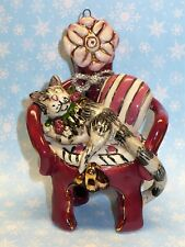 2001 Heather Goldminc Cat In Chair Ornament Blue Sky Co.Vgc
