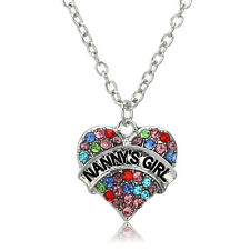 Love Heart Crystal Nanny's Girl Family Charm Pendant Necklaces Jewelry Gifts New